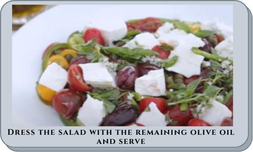 Dress the salad with the remaining olive oil and serve